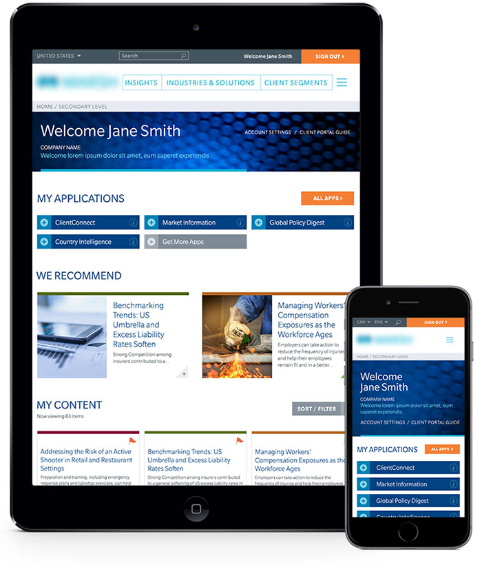 Client Portal Tablet and Mobile