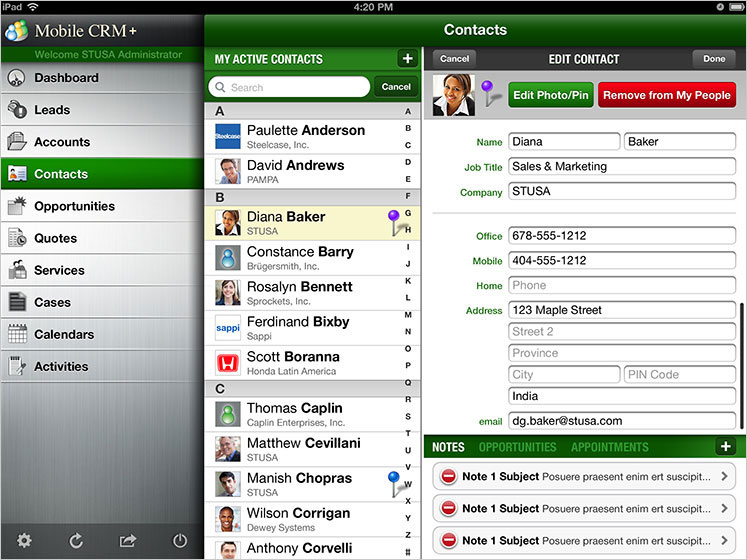 Mobile CRM+ Edit Contact