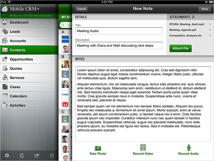 Mobile CRM+ New Note