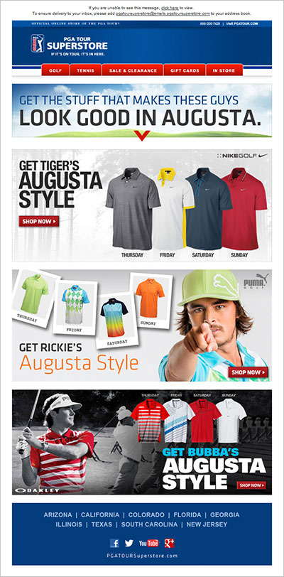 PGA TOUR Superstore Masters Apparel Scripting eBlast